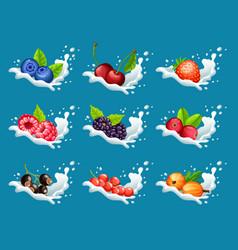 Cartoon natural sweet products set vector