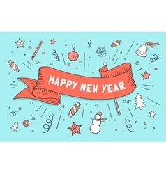 Greeting card with red ribbon and Happy New Year vector image vector image