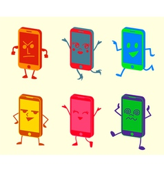 Happy Cute Kawaii Smartphone Characters vector image