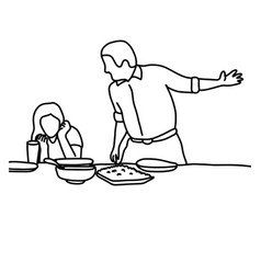 husband and wife in quarrel in kitchen before vector image