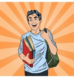 Male Pop Art Student with Backpack and Books vector image vector image