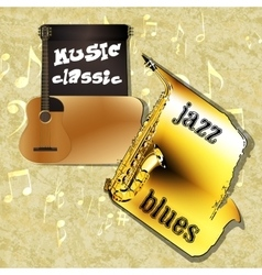 music background classic guitar saxophone one vector image vector image