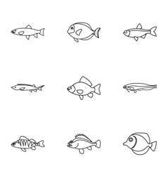 River fish icons set outline style vector image vector image