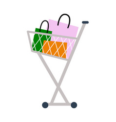 shopping cart with bags on vector image
