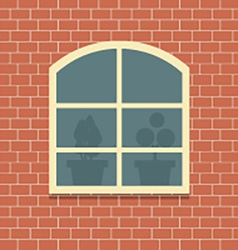 Window On Brick Wall Background vector image