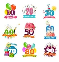 Anniversary birthdays emblems icons set vector image