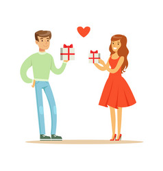 young enamored woman and man standing and holding vector image vector image
