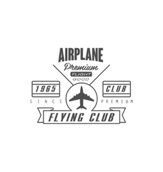 Airplane Premium Club Emblem Design vector image vector image