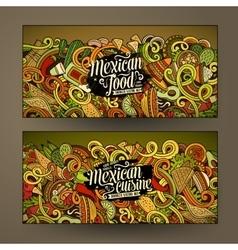 Cartoon mexican food doodles banners vector