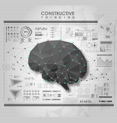 conceptual polygonal brain with hud elements vector image