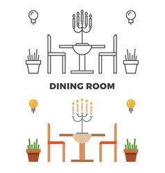 dining room concept - flat style and line style vector image vector image