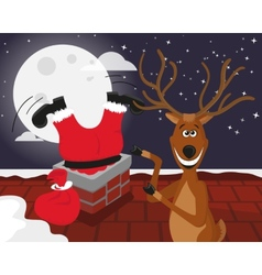 Funny reindeer with Santa on the roof vector image vector image
