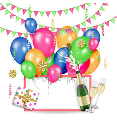 greeting card template with birthday party objects vector image vector image