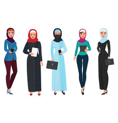 Set of business arab woman character with hijab vector