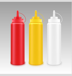 set of white red yellow mustard ketchup bottle vector image vector image