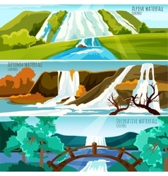Waterfall Landscapes Banners vector image