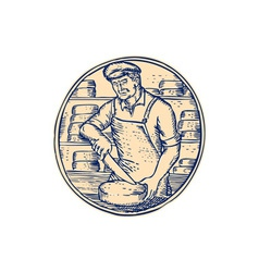 Cheesemaker Cutting Cheddar Cheese Etching vector image
