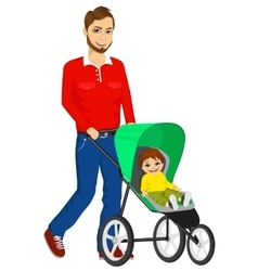 handsome single father pushing stroller vector image vector image