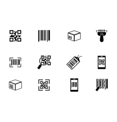 QR code and bar icons set vector image