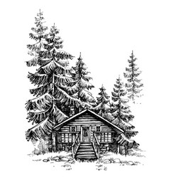 A wooden cabin in pine forest idyllic winter vector