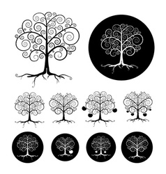 Abstract Black Tree Set vector image