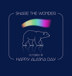 Alaska day polar bear and vector