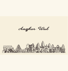 angkor wat skyline cambodia drawn sketch vector image