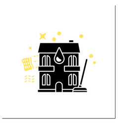 Apartment cleaning glyph icon vector