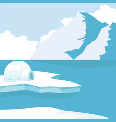 arctic iceberg and mountains with igloo icehouse vector image