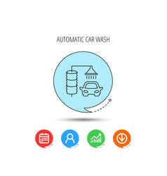 automatic carwash icon cleaning station sign vector image