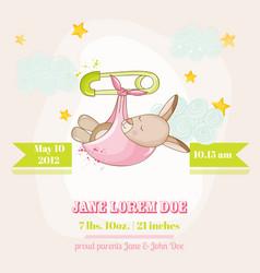 Baby girl kangaroo sleeping - shower card vector