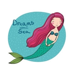 Beautiful cute cartoon mermaid with long hair vector