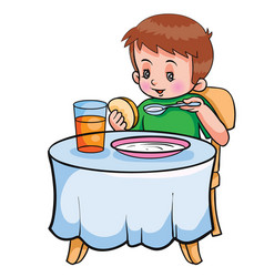 boy sitting at table and having breakfast vector image