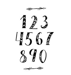 brush lettering numbers vector image