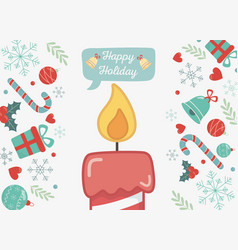 burning candle gifts bells and candy canes happy vector image