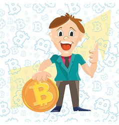 businessman character with bitcoin vector image