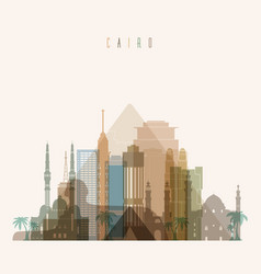 cairo skyline detailed silhouette vector image