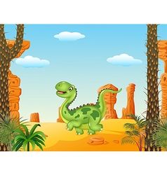 Cartoon funny walking dinosaur in the desert vector