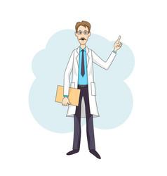 Caucasian doctor talking in white coat vector