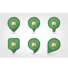 Chicken mapping pins icons vector image