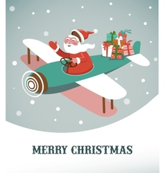 Christmas background with retro airplane and santa vector