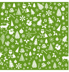 christmas green background seamless tiling vector image