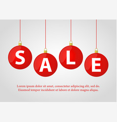 christmas red balls with sale for ad poster vector image