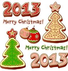 Christmas tree and chocolate honey-cakes vector