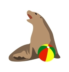 Circus seal playing a ball vector