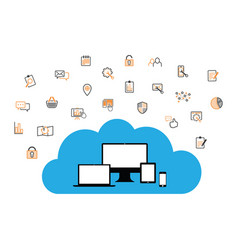 cloud enabled equipment with internet business ico vector image