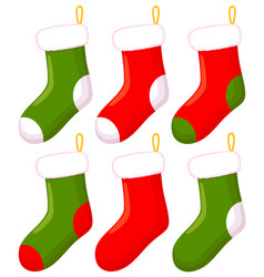 colorful cartoon christmas sock set vector image
