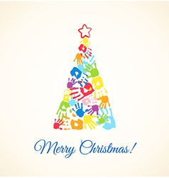 Colorful Christmas tree made of the handprints vector