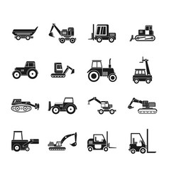 Construction vehicle icon set simple style vector