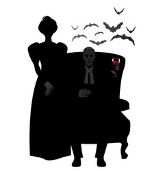 Couple silhouette dressed in the vector
